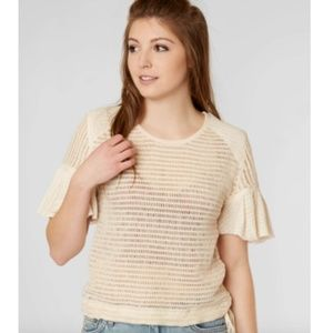 Free People Babes Only Open Weave Knit Top Ivory